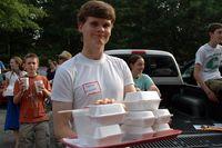 Serving food at White Plains UMC
